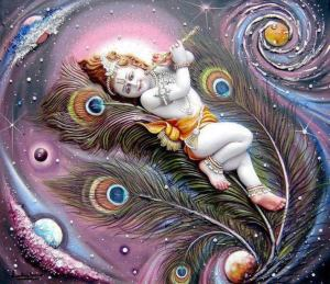 1683 Krishna laying on feathers in universe